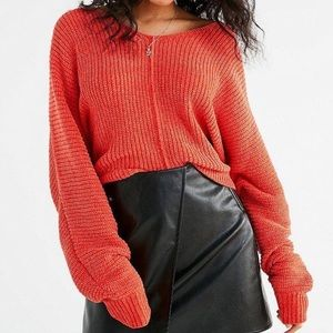 Urban Outfitters Orange Chenille V Neck Sweater